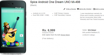 Flipkart incidentally revealed the specs of Spice Android One Dream UNO Mi-498