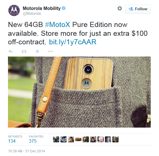 Motorola Moto X Pure Edition with 64GB is up-for-sells on Motorola